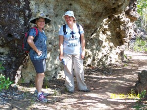 A pause in the shade of one of the large rock formations. Photo L. Hall