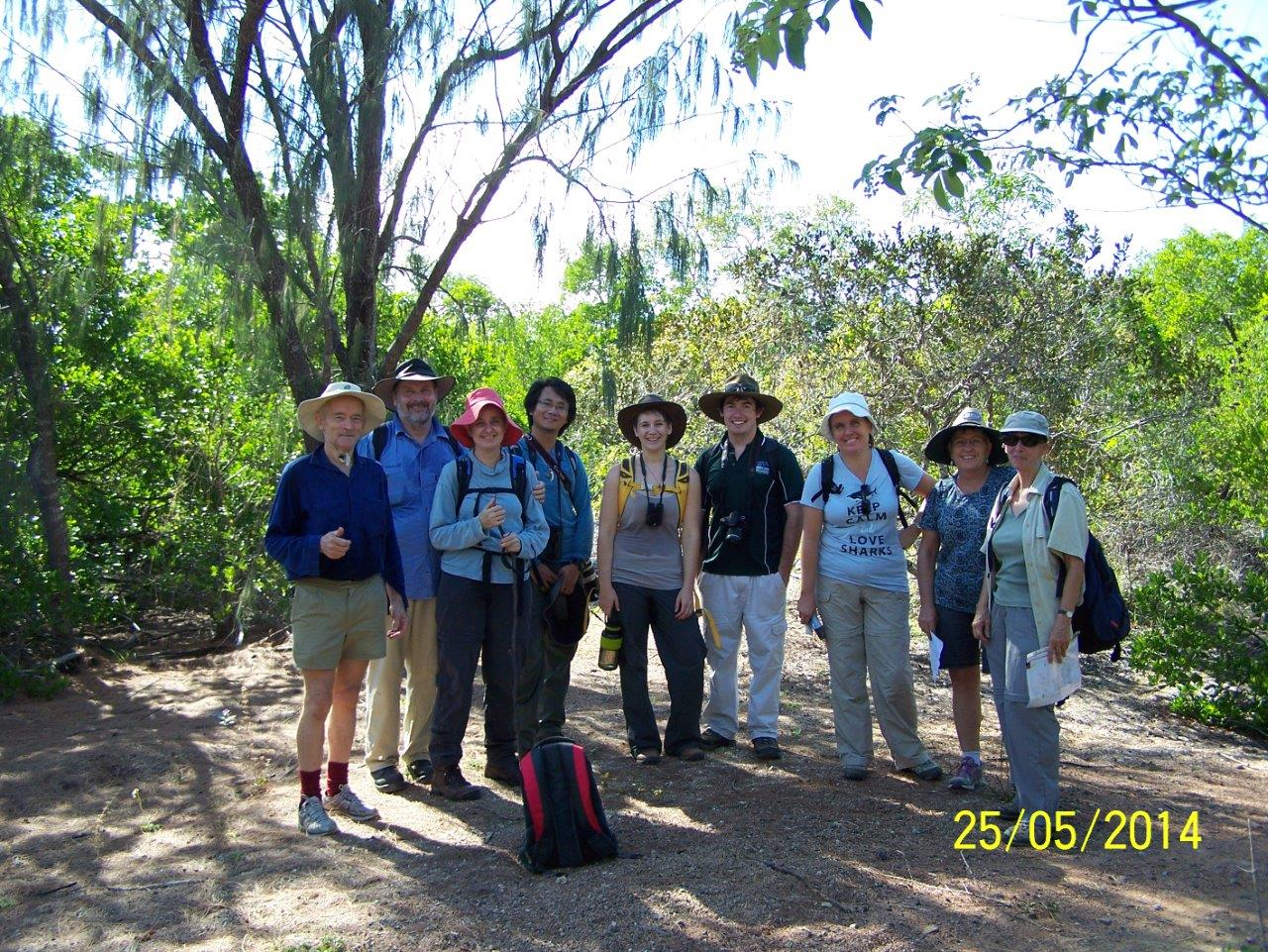 Some of the group near the mangrove bridge. Photo Malcolm Tattersall/Laurie Hall