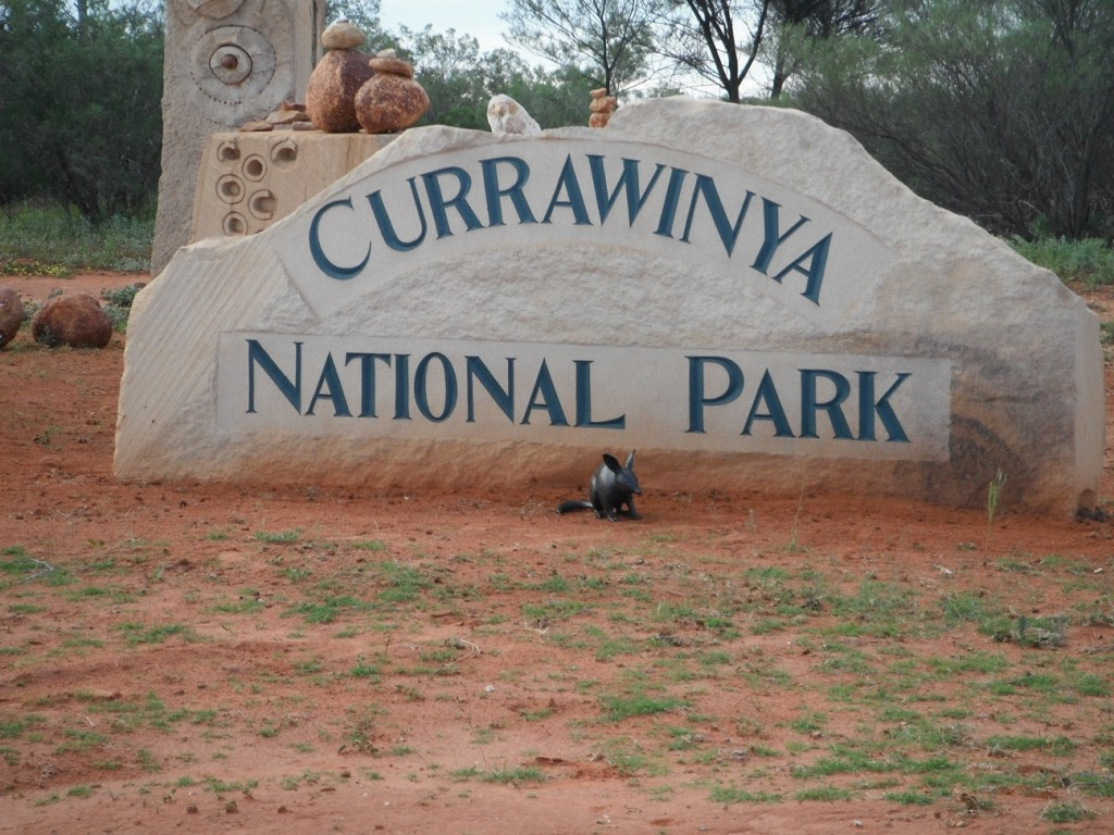 Currawinya National Park sign - with its most iconic marsupial!