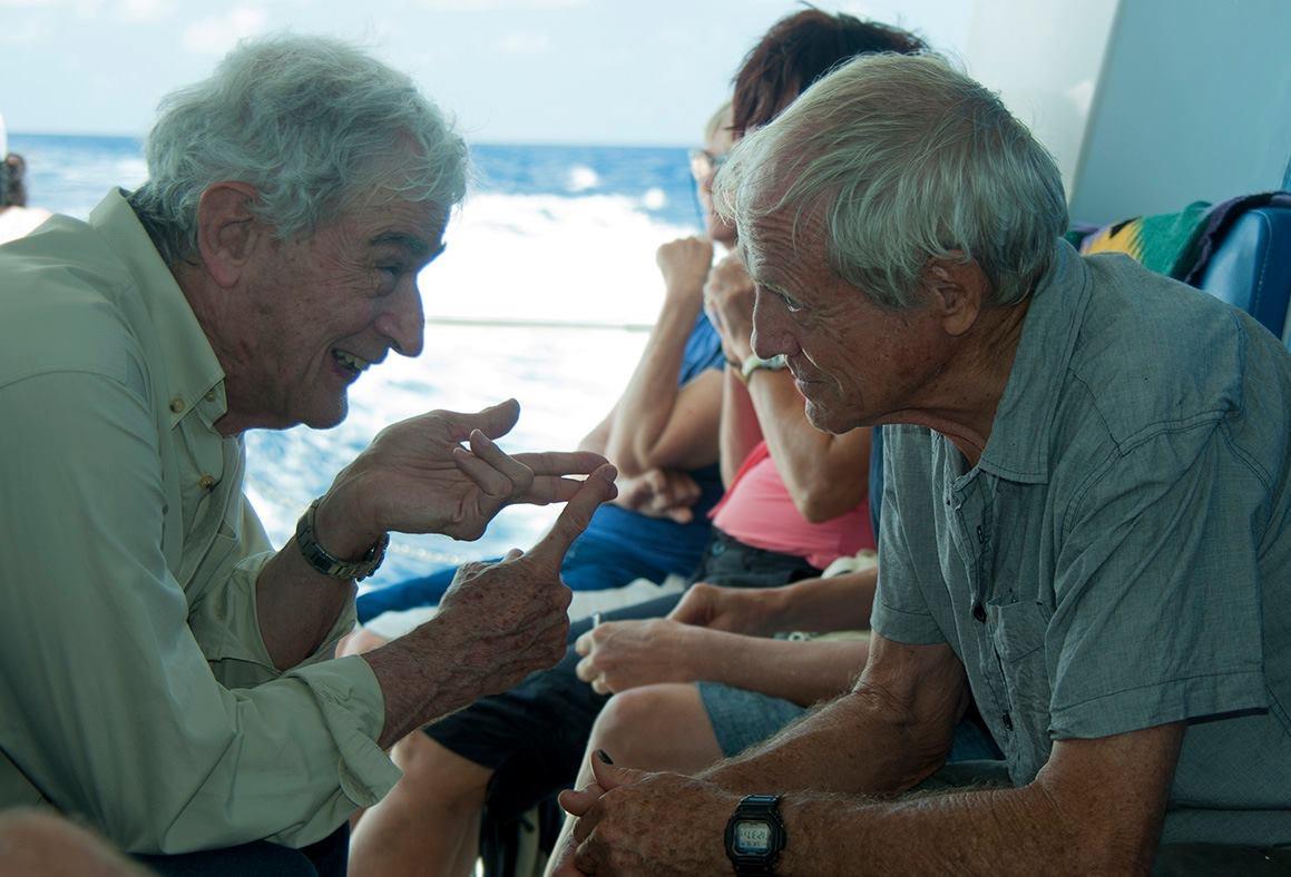 Two reef heroes: Charlie Veron (L) and Eddie Hegerl. Photo Liz Gallie