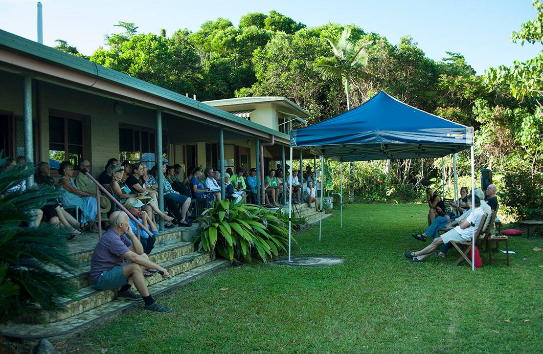 The crow assembles on the long verandah for the forum. Photo Liz Gallie.