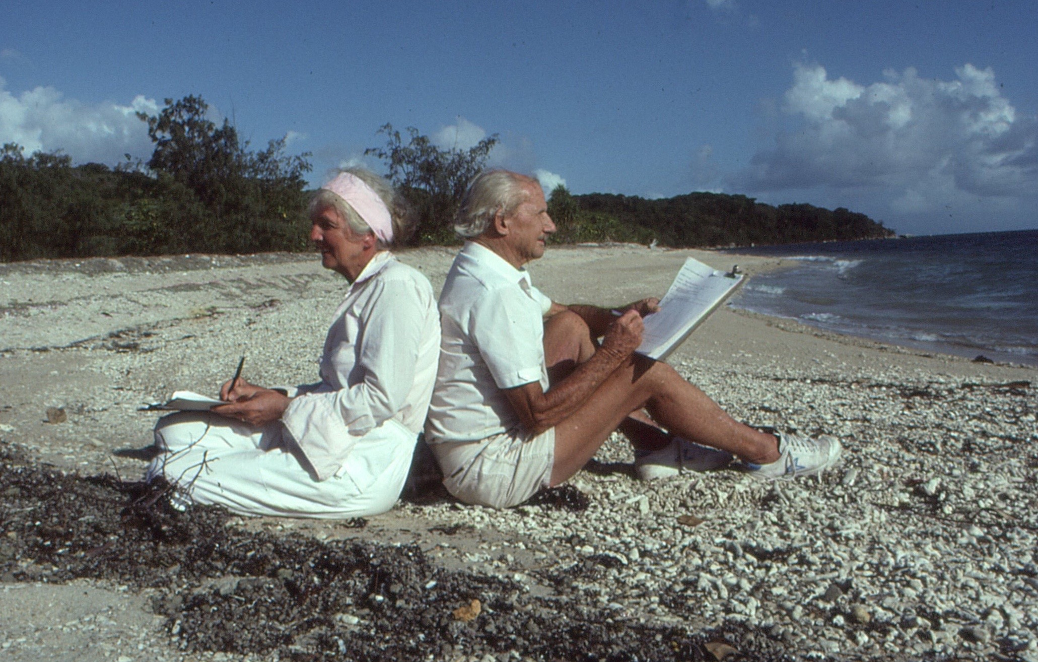 Arthur and Margaret on North Brook Island in the 1980s counting the Torres Strait pigeons. Photo courtesy and copyright of Cliff & Dawn Frith.