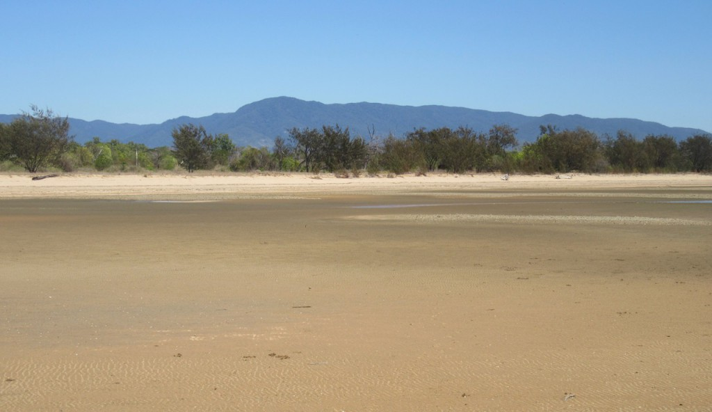 Looking back from the beach towards the Paluma Range.