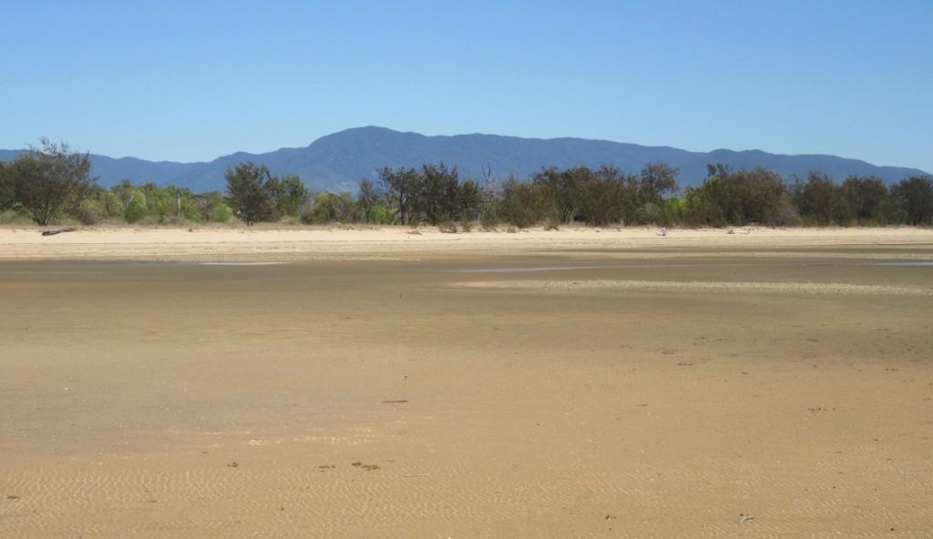 Looking back from the beach towards the Paluma Range.