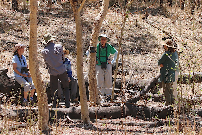The group inspects our first camera site. Photo Malcolm Tattersall.